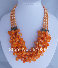 Free shipping !!! African wedding three strands pearl chain pink coral petal jewelry necklace(China)