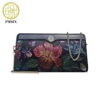 Pmsix 2017 flor en relieve señoras del cuero genuino del partido de tarde bolsos del diseñador del bolso de hombro de la cadena pequeña bolsa de embrague de lujo