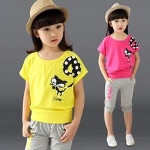 Free Shipping 2016 New summer clothes set children fashion princess shirts and trousers 2 pieces baby kids short set 110-170