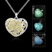 Luminous Heart Type Necklace Fluorescent Stone Flower Hollow Locket Cage For Women Night Light KQS(China)