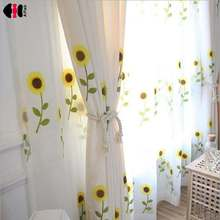 Sunflower Custom Embroidery Screens Garden Bedroom Curtains For Living room Cotton Linen Ready Made Window Panels WP186D(China)