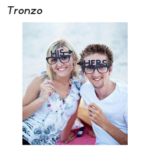 Tronzo 2pcs/set HIS HERS Wedding Decoartion Photo Booth Funny Paperboard Glasses Wedding Party Supplies 2017(China)