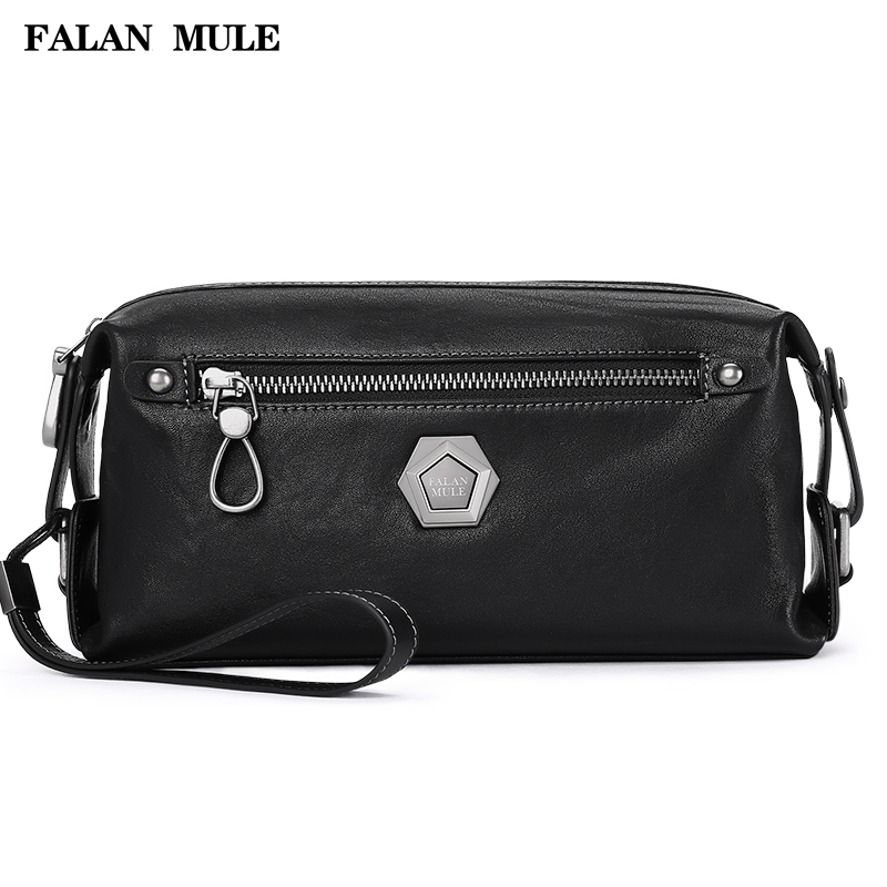 FALAN MULE Genuine Leather Men Wallet Luxury Fashion Male Clutch Wallets Large Capacity Handy Bag Leather Mans Purse (Black)<br>