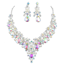Delicate Shining AB crystal and pearl Jewelry sets For women wedding Dress necklace earrings Bridal party jewellery accessories(China)