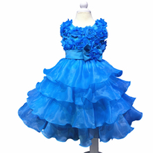 Knee-length Factory Stock Wholesale 2t-8t Formal Girl Prom Cheap Red Dresses Weddings Flower Girls Cute Kids Evening Gown Child