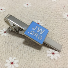 100pcs wholesale customized blue enamel square nickel plated tacks for men metal craft gift Jw.org religious tie bar clips