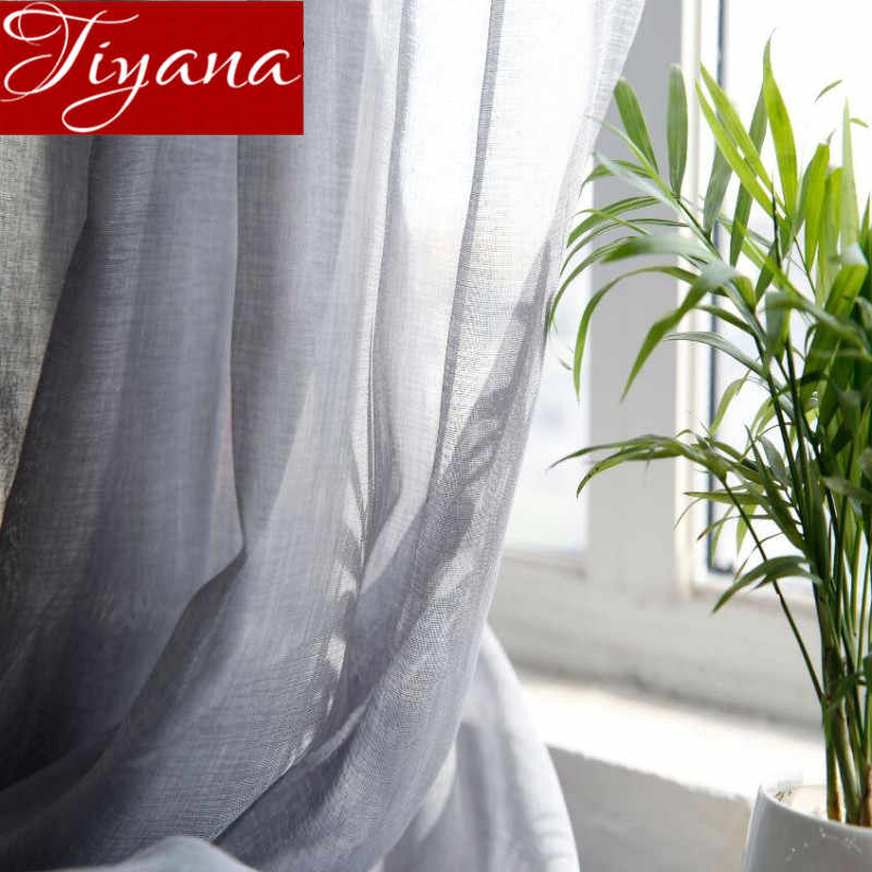 Gray Curtains Solid Sheer Voile Window Modern Bedroom Kitchen Linen Curtians Tulle Fabrics Cortinas Para Sala Rideaux X058 #20