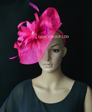 NEW Hot pink fuchsia Sinamay fascinator hat feather fascinator for Melbourne cup,Ascot races wedding kentucky derby.(China)