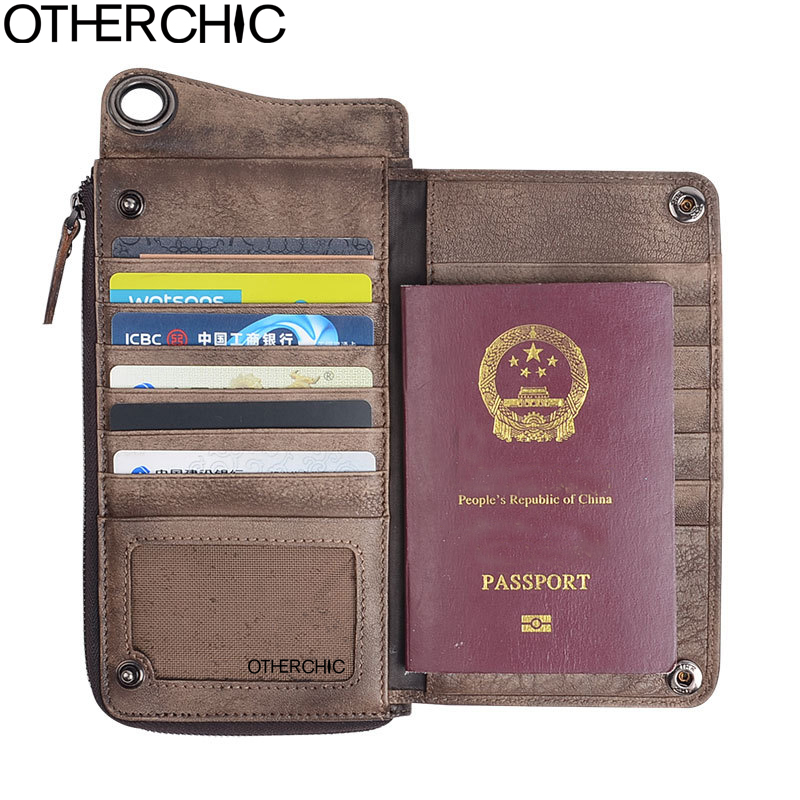 OTHERCHIC Men Wallet  Leather Wallet Card Holder Zipper Cow Leather Genuine  Female Purses 17Y04-28<br>