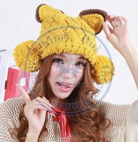 Cat ear ball knited hat Beanies Cap Autumn Spring Winter fashion girl ladys multi color  CN postÎäåæäà è àêñåññóàðû<br><br><br>Aliexpress