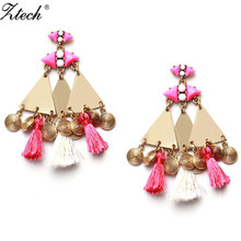 Ztech Luxury Accessories Bohemia Coin 100% Cotton Earring For Girl Dangle Drop Tassel Earrings For Women Wedding Christmas Gifts
