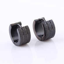 Fashion Frosted Small Huggie Earrings Stainless Steel Sand Surface Silver Gold Black Wide Hoop Earrings Jewelry For Men Women(China)