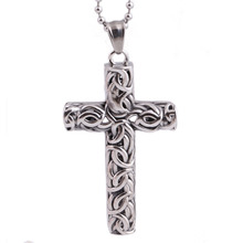 Fashion Men's Silver Black 316L Stainless Steel Cross Pendant Necklace(China)