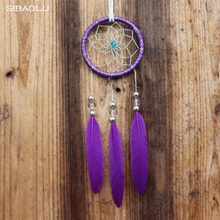 Indian style car handmade dream catcher net with feathers hanging decoration craft gift for home decoration ornament craft gift