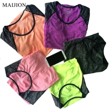 MAIJION Patchwork Sport T-shirt For Women Gym Fitness Yoga Shirts, Breathable  Elastic Quick Dry Yoga Running Tops Exercises Tee