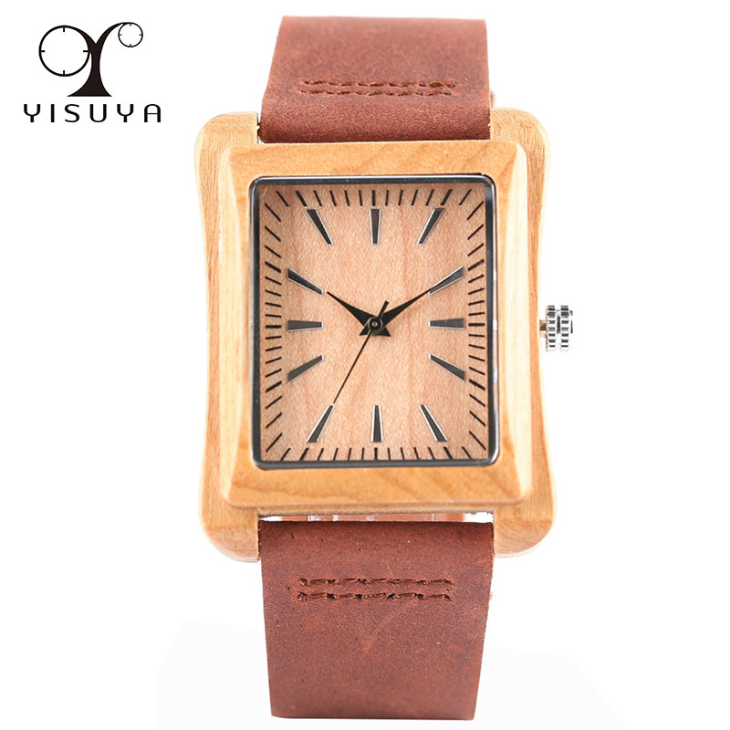 Bamboo Watch Wood Rectangle Unique Dial Handmade Analog Strap Gifts Men title=