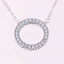 2017 Round Limited Collares Maxi Necklace Swarovski crystal Fashion Jewelry 100% 925 Sterling Fit Original Women Name Bead(China)