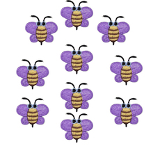 10pcs lavender Bees patches insect badges for clothing iron embroidered patch applique iron on patches sewing accessories DIY