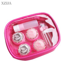 XZJJA Women Contact Lenses Storage Box Pink Cartoon Cat Contact lens Box Eyes Care Kit Holder Travel Washer Cleaner Container(China)