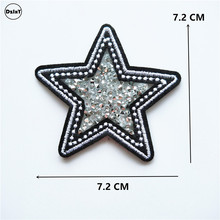 1 PCS Hot Drilling Star parches Embroidered Iron on Patches for Clothing DIY Stripes Clothes Stickers Custom Badges 7.2 CM @NN1(China)