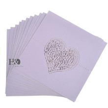 Laser Cut paper Violet Love heart 120 pcs Invitation Name Place Card  for Glass Cup Table Card  Party Wedding Favors Decorations