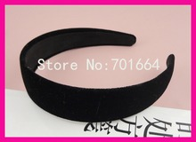 "10PCS 2.5cm 1.0"" Black Velvet Fabric Covered Plain Plastic Hair Headbands,women black velvet hairbands wholesales"