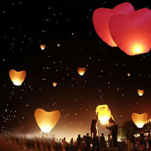 New 5Pcs a set Love Heart Sky Lantern Flying Wishing Lamp Hot Air Balloon Kongming Lantern Party Favors 90CM For Birthday Party