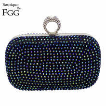 Women's Dazzling Blue Multi Crystal Diamond Evening Clutch Bag Ladies Bridal Mini Wedding Party Hard Case Metal Clutches Handbag