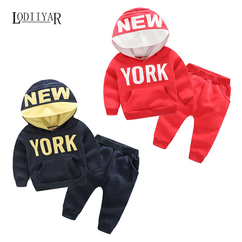 Boys Clothing Set Pullover Hooded Coat + Harem Pants Suits Casual Korean Letter New York Pattern Warm Kids Clothes Winter Autumn<br><br>Aliexpress
