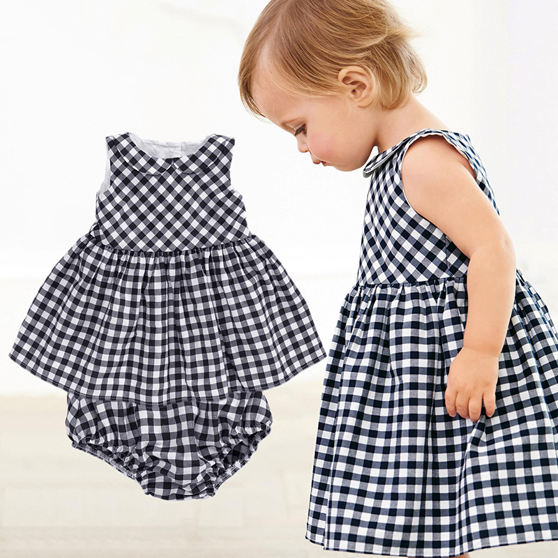 Baby-Girls-Dress-2016-New-Casual-Plaid-Sleeveless-Turn-down-Collar-Princess-Dress-Plaid-shorts-2pcs