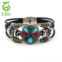 ER Women Vintage Bohemian Ethnic Bracelet Color Stone Retro Tribal Leather Turkish Braslet Female Hand Accessories Jewelry LB017