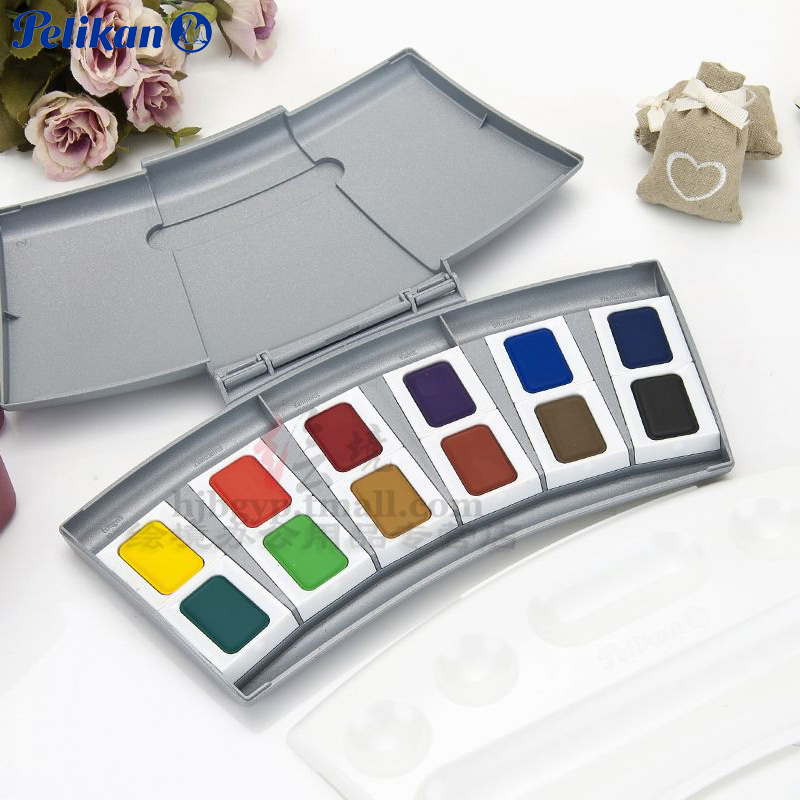 Freeshipping PELIKAN College Level new packaging opaque solid watercolor pigment 12 color suit<br><br>Aliexpress