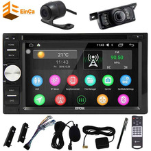 Camera+Car PC stereo 2Din Anroid6.0 Support GPS Navigator DVD Player support Mirror Link/Steering Wheel/WIFI/External MIcrophone(China)