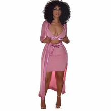 Fashion women dress 2017 new autumn pink long sleeve strapless bow sheath sexy nightclub wear 3 piece bandage dress(China)