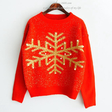 Christmas Sweater Snowflake with Pearl Pullover Pull Femme Hiver Jersey Mujer Invierno Red Ladies Mohair Christmas Jumper