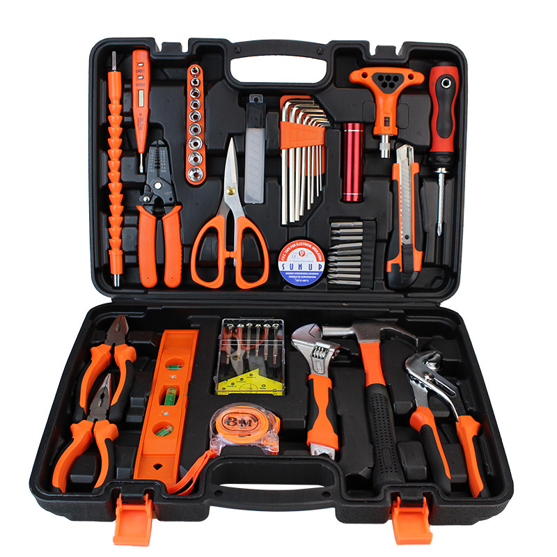 Multi-function Hand Tool Set General Household Hand Tool Kit with Plastic Toolbox Storage Case Socket Wrench Screwdriver Knife