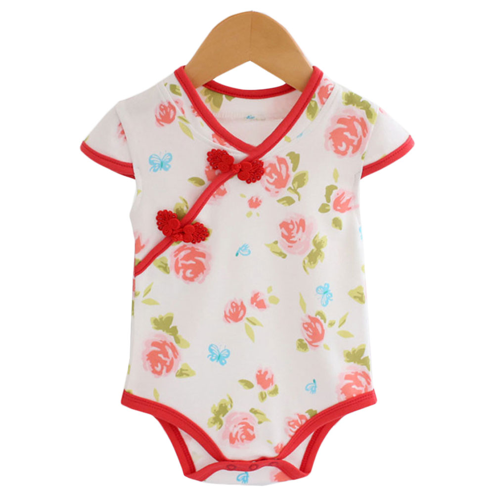 Summer Newborn Girls Clothes Chinese Floral Cheongsam Traditional National Costume Toddler Jumpsuit Short Sleeve Baby #273889