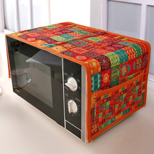 Ethnic Customs Cotton Microwave Oven Cover With Storage Bag Dust Cover Anti Oil(China)