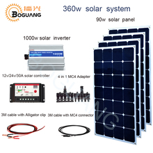 Boguang 360w solar system 90w Aluminum solar panel 1000w inverter 30A controller MC4 connector cable 4 in1 adapter 12v battery