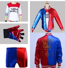 joker and harley quinn costumes for girls children cosplay jacket shirt shorts suicide squad halloween costume kids adult women