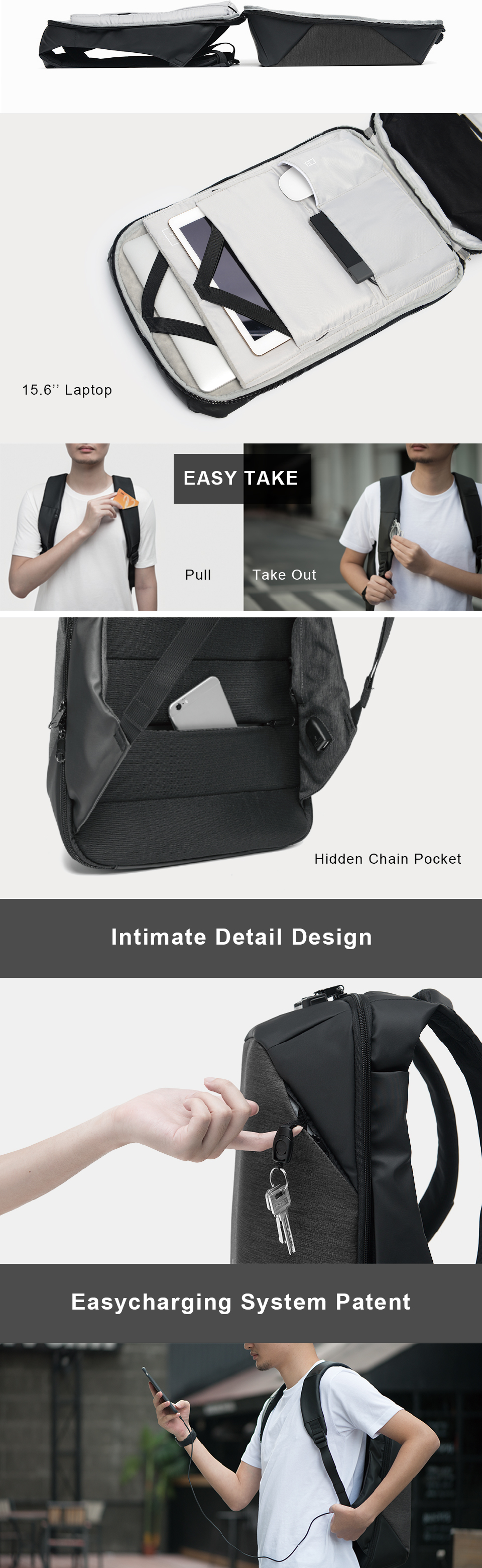 Kingsons Click Anti-thief Solid Backpacks Scientific Storage System Bags External USB Charging Laptop Backpack For Man And Wome