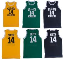 Mens Basketball Jersey 14# 25# Will Smith the Fresh Prince Movie American Throwback Sleeveless Jerseys Yellow Black Green(China)