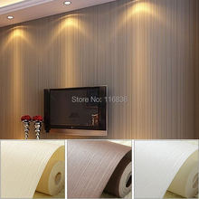 Top Quality Fabric Mural wallpaper modern striped flock wall paper papel de parede tapete bedroom white,beige,coffee 53x1000cm(China)