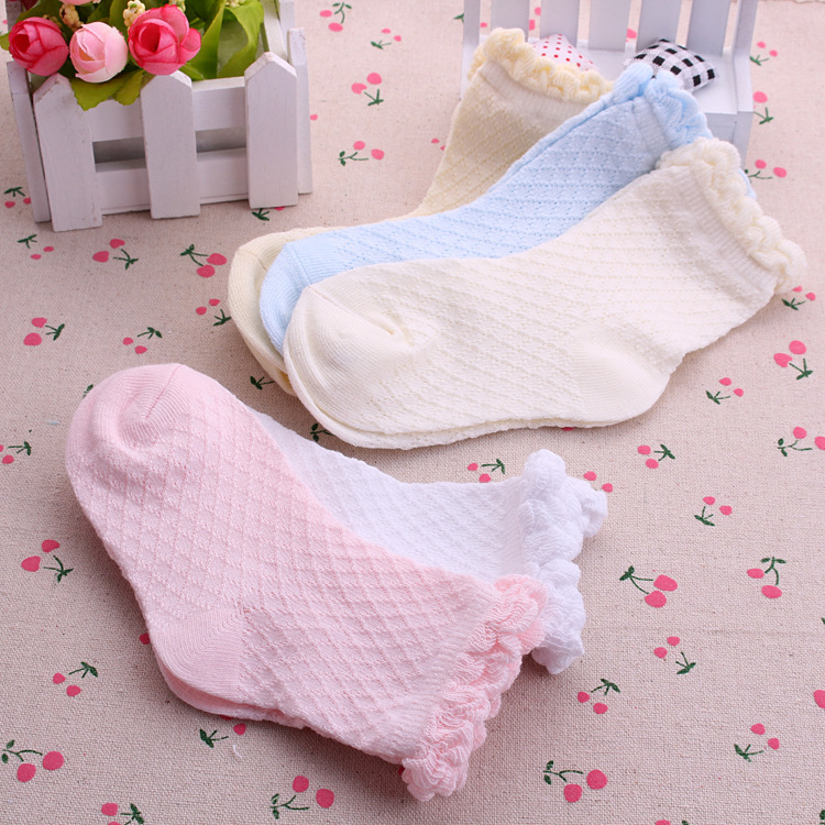5 Pairs/Lot Mesh Thin Girls Socks For Children Kids New Summer Baby Cotton Soild Candy Colors Lace Ruffle Short Girl Sock Set 5