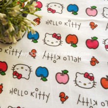 105X100cm Hello Kitty Colorful Apples White Cotton Fabric for Girl Dress Bedding Set Sewing Patchwork DIY-AFCK677