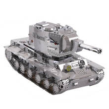 Russia KV 2 Tank Fun 3d Metal Diy Miniature Model Kits Puzzle Toys Children Educational Boy Splicing Science Hobby Building(China)