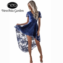 Buy NewAsia Garden Floral lace dress women Vintage 2017 autumn lining back lace vestidos Front short embroidery navy sexy dresses for $22.95 in AliExpress store