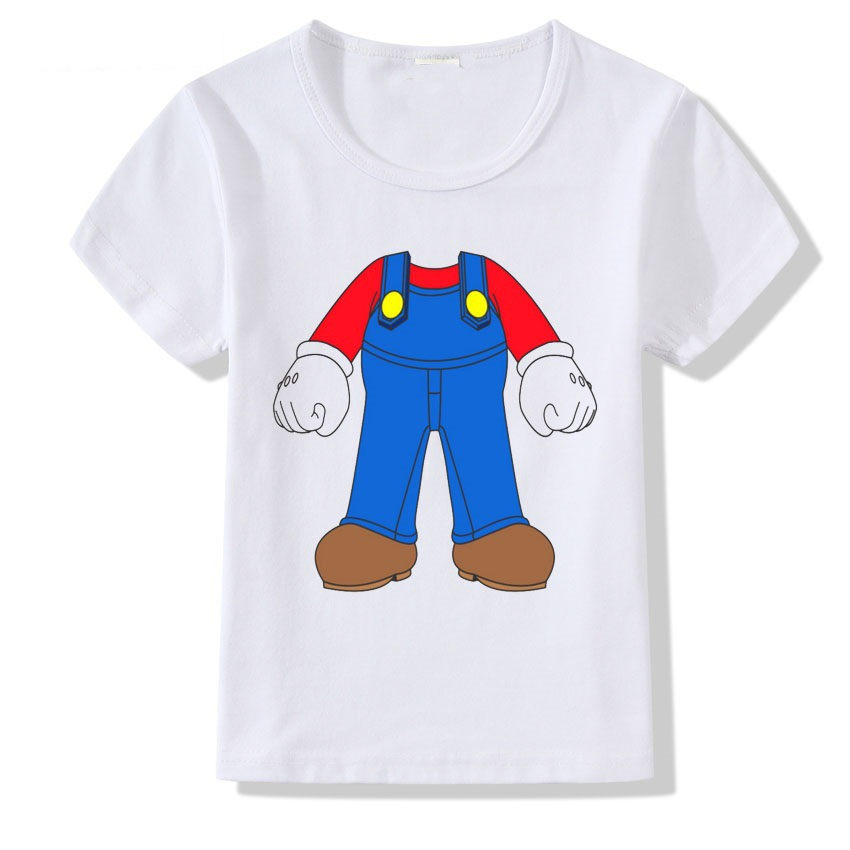 2018summerNew Kids Children Costume Clothes T-shirt Tees Boys Girls Cartoon Super Mario Clothes Short Sleeve T-Shirt Tee Tops