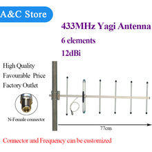 433MHz yagi antenna 12dBi 6 elements high quality N-Female or customized connector(China)