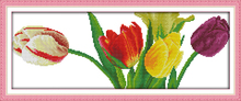 Joy sunday floral style Gorgeous tulips long free cross stitch patterns printable canvas pretty painting for home ornament
